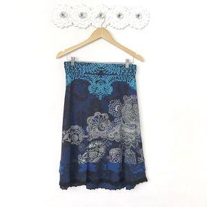 Desigual Deliney Lace Print A-Line Skirt Size M